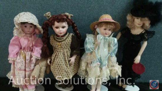 1989 Heritage Mint Limited porcelain doll (missing a shoe), (2) misc. porcelain dolls, Mae West