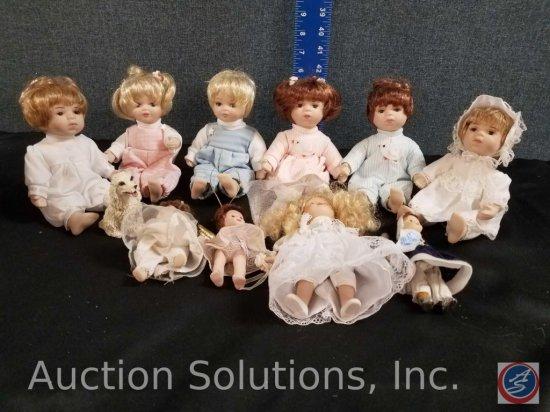 (3) sets of boy/girl miniture porcelain dolls, additional misc. minature dolls