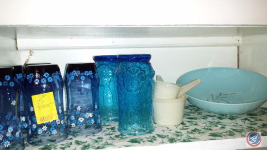 (8) glass cups, and ceramic dish