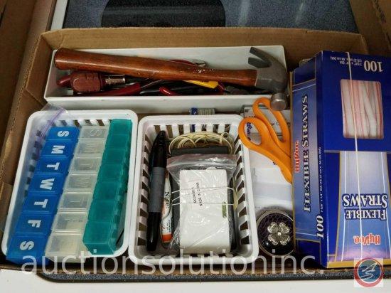 Box of Misc-Hammers, Pliers, Razor, Tape Measure, Scissors, Screws, etc