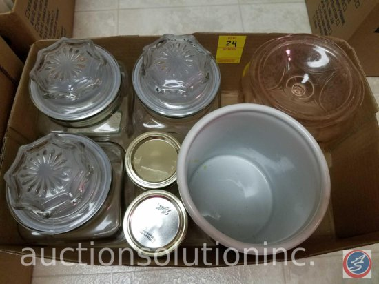 (4) Glass Canisters, (2) Canning Jars, Ceramic Jar