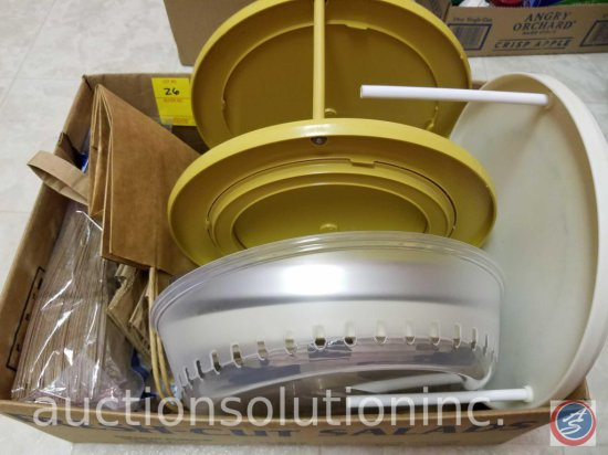 Microwave Plate Covers, Spice Rack Spinner, misc paper sacks