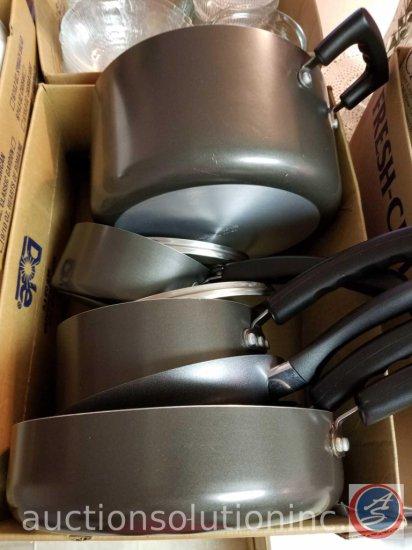 Invitations Nonstick Aluminum Cookware Set-2 Saucepans w/Lids, Dutch Oven, 3 Frying Pans