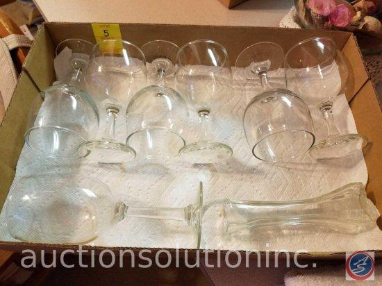 8 Wine Glasses, Small Glass Vase