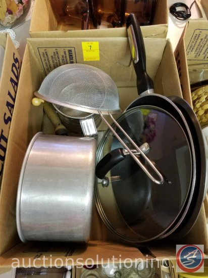 Flour Sifter, Strainer, Wear-Ever Aluminum Saucepan w/lid, Metal Strainer, Pie Pan, T-Fal Frying Pan
