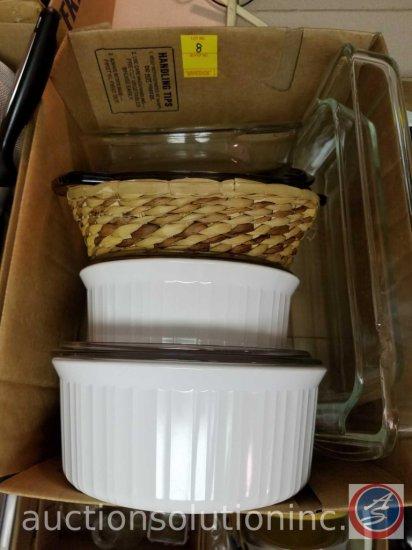 Glass Pie Plate, 1.5 qt Pyrex Casserole Dish, 2 Serving Dishes w/Lids, Glass 9x13 baking Dish,