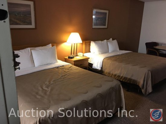 Contents of room except flat screen TV, Heating and A/C units. This room has 2 Queen Beds