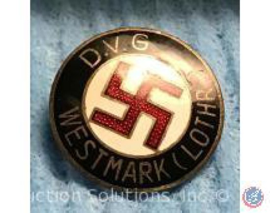 Raised Letter Party Badge Black + White Enameled w/ Red Swastika (Back is Hallmarked)