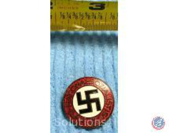 Raised Letter Party Badge Red + White w/ Black Swastika (Back is Hallmarked)