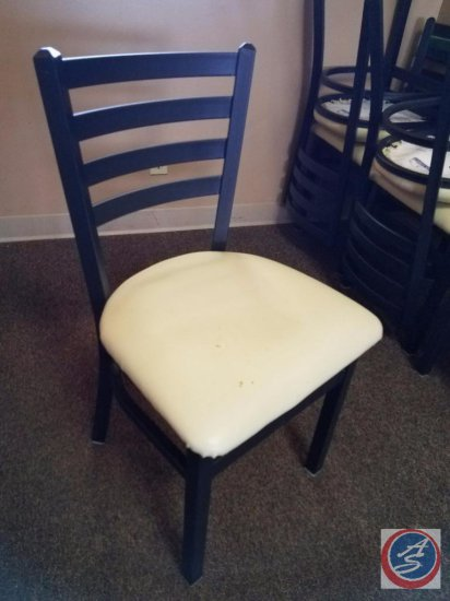 [6] Oak Street Manufacturing Upholstered Restaurant Chairs w/ Black Metal Frame {SOLD 6x THE MONEY}