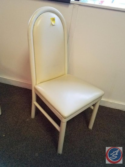 [6] White Upholstered Chairs w/ High Backs {SOLD 6x THE MONEY}