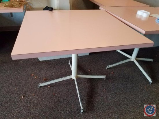 [4] Square Single Pedestal Pink Laminate Top Tables Measuring 36x36x30 {SOLD 4x THE MONEY}