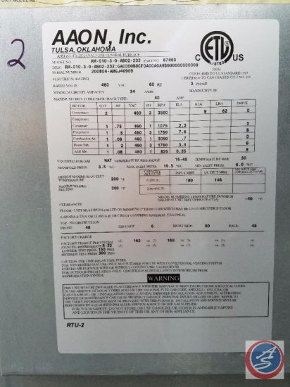Aaon Rooftop HVAC Unit, Model # RM-008-3-0-AB02-232, Serial # 200804-AMGJ40909, Curb Size (E/Wxn/S)