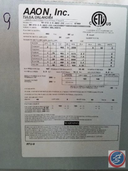 Aaon Rooftop HVAC Unit Model # RM-008-3-0-AB02-232, Serial # 200804-AMGH40915, Curb Size (E/WxN/S)