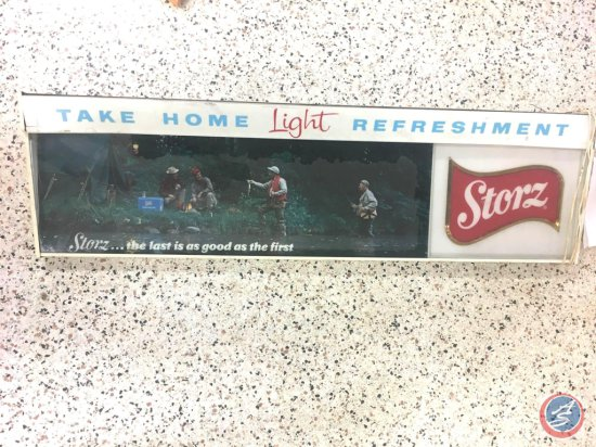 "Storz Lighted Beer Sign - 50 1/2"" X 14"" (Lens has Some Cracks)"