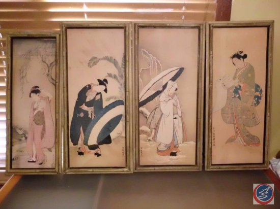 [4] Oriental Prints - Each Depicting Ladies w/ Parasols