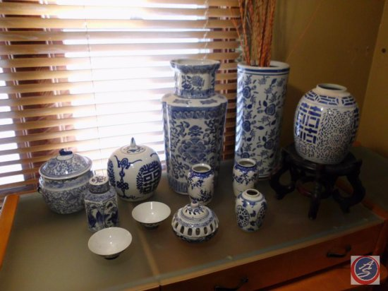 Assorted Blue Oriental Urn Vases