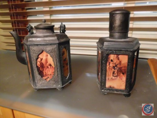 [2] Antique Lanterns w/ Glass or Porcelain Inserts