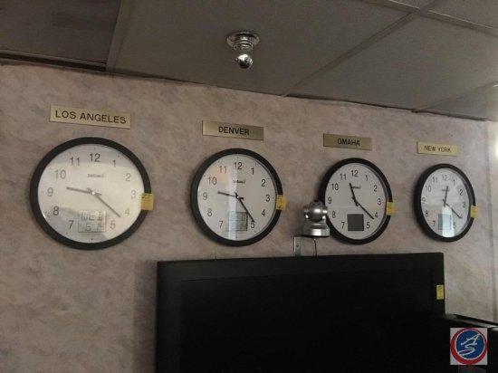 (4) hand and digital wall clocks