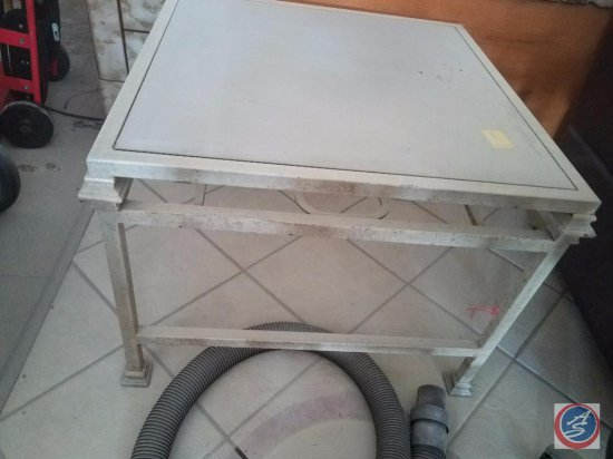 Glass End Table {{covered with fire extinguisher powder}}
