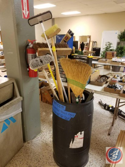 Assorted brooms and umbrellas (storage bin NOT included)