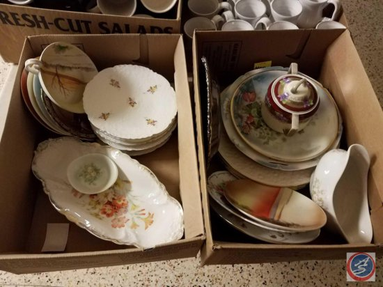 (2) boxes containing assorted china plates, serving platters, gravy boat, and more