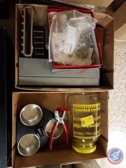 (2) boxes containing buttons, recipe organizers, iced tea glass pitcher, and more