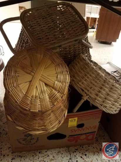 Box of assorted wicker baskets