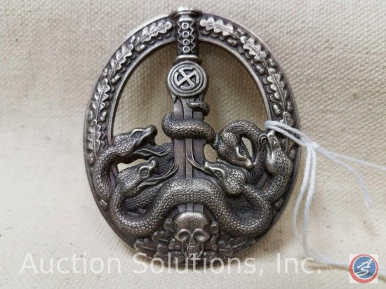 German World War II Army Silver Anti Partisan Badge. The snake heads are cut out. Has a wide