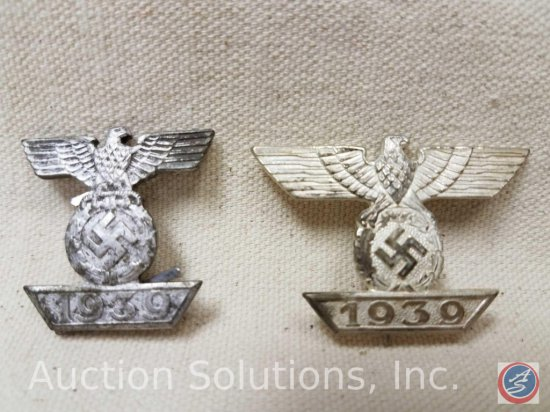 German World War II 1st & 2nd Class Clasps To The Iron Cross. Both are maker marked 'C E Junker
