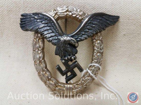 German World War II Luftwaffe Pilot Qualification Badge. The reverse side is maker marked 'C E