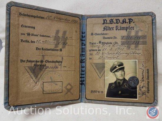 German World War II Waffen SS NSDAP Alter Kampfer Soldier Identification. Measures 4in wide by 5