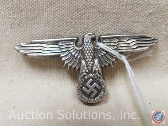 German World War II Waffen SS Officers Visor Cap Eagle. The reverse side is maker marked 'RZM M1/14