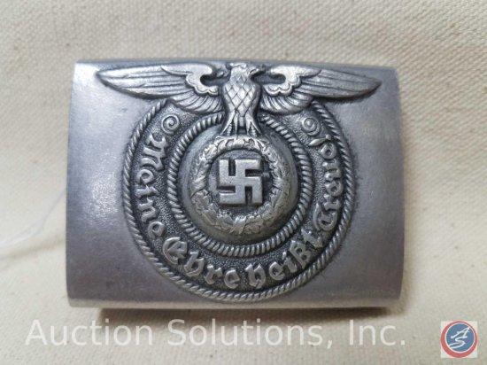 German World War ll Waffen SS Enlisted Mans belt buckle. The front reads 'Meine Ehre heist Treue! '