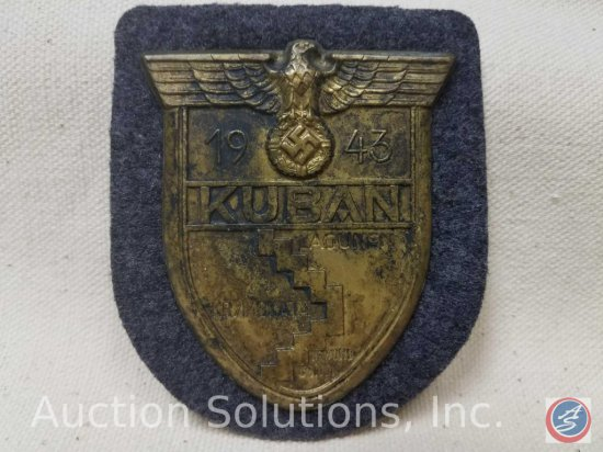 German World War ll Luftwaffe 1943 KUBAN sleeve shield. Has a grey wool back with paper on the
