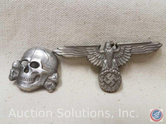 German World War II Waffen SS Officers Visor Cap Eagle & Skull. The reverse side is maker marked 'ES