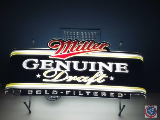 Neon Miller Genuine Draft sign (working- need ladder to remove)