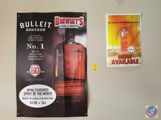 Bulleit Bourbon paper poster and Orange Red bull paper poster