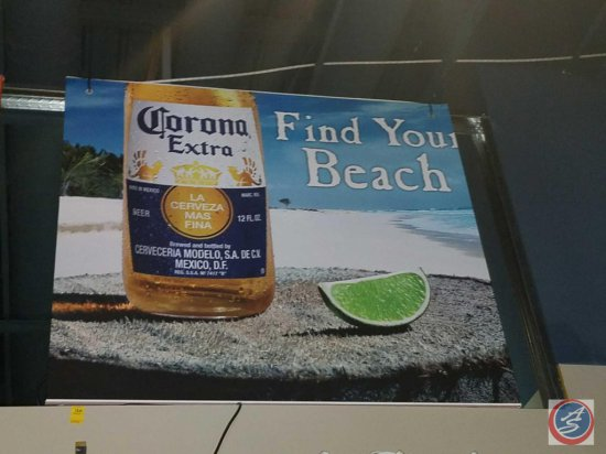 Corona Extra paper sign with styrofoam backing (54 X 48)- need ladder to remove