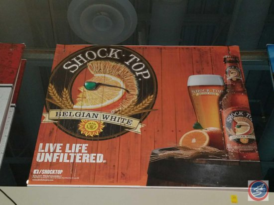 Shock Top paper sign with styrofoam backing (54 X 48)- need ladder to remove