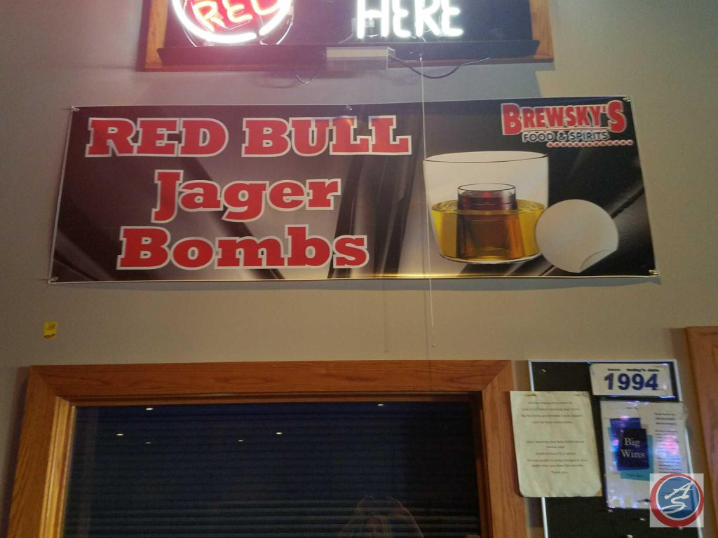 Red Bull Jagar Bomb Brewsky's banner and 2 paper posters