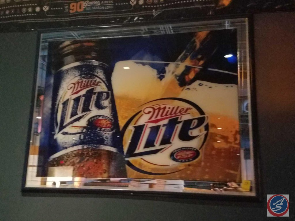 Miller Lite framed wall sign (52 X 40)