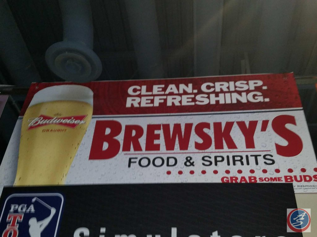 Brewsky's paper sign with styrofoam backing (96 X 48)- need ladder to remove