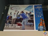 Bud Light paper sign with styrofoam backing (54 X 48)- need ladder to remove