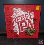 Samuel Adams Rebel IPA metal wall sign with random signatures all over it