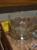 (6) glass pedestal sundae dishes