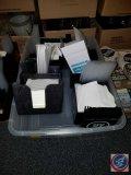 (3) UV Vodka straw and napkin holders, and (2) plain black napkin and straw holders