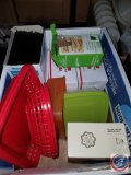 Box containing (3) Sysco plastic sword pick boxes, mint toothpicks cello-wrapped, stirrer straws,