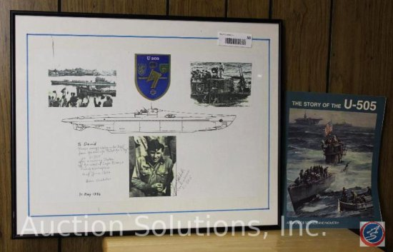 U-Boat Pamphlet and Framed Picture Signed and Dated 1996 - 20 x 16.75''