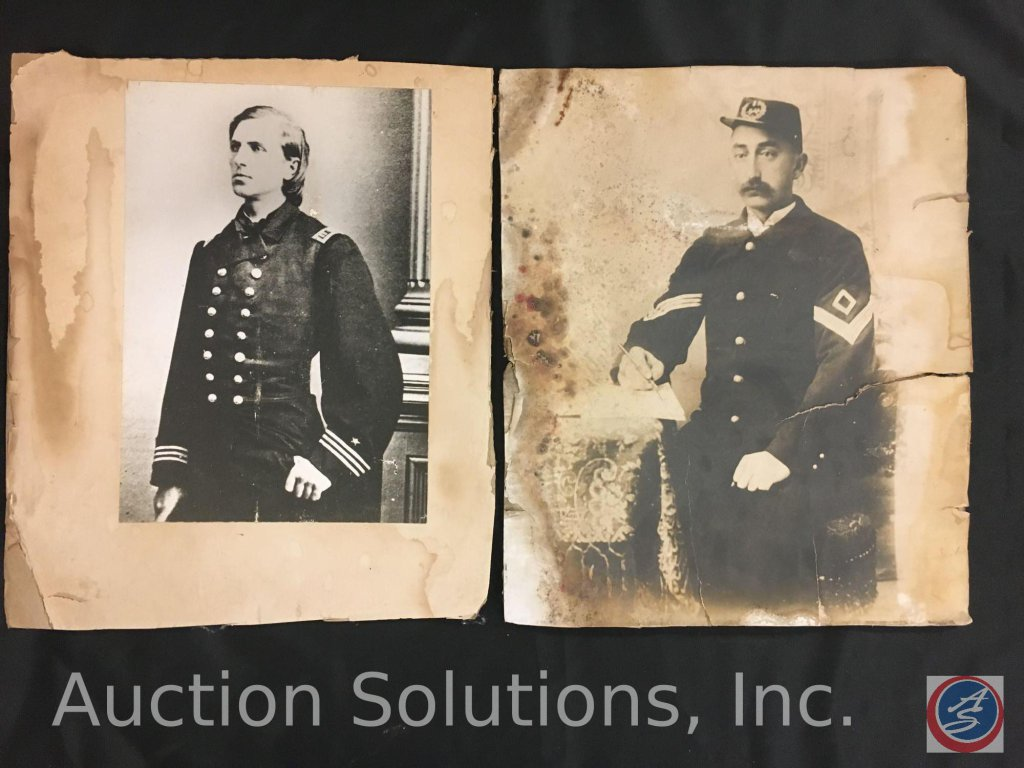 [2] Pictures Civil War Enlisted and Officer, (Unframed and w/ Damage) - 14 x 11''